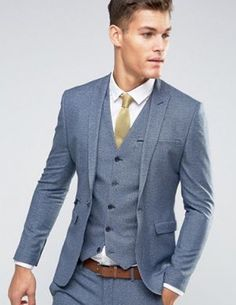 woolly-gray-blue-wedding-suit-also-after-your-wedding-wear-wollig-grijs-blauw-trouwpak-ook-na-je-bruiloft-te-dragen woolly-gray-blue-wedding-suit-also-after-your-wedding-wear - Tight Suit, Fitted Suit, Skinny Suits, Slim Fit Suits, Asos Wedding, Wedding Wear, Wedding Groom, Wedding Attire, Mens Fashion Suits