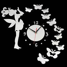 DIY Fairy Butterfly Acrylic Wall Sticker Clock Home Decoration Wall Clock Sticker, Mirror Wall Clock, Wall Clock Design, Clock Craft, Diy Clock, Easy Home Decor, Home Decor Styles, Diy Butterfly Decorations, Steampunk Clock