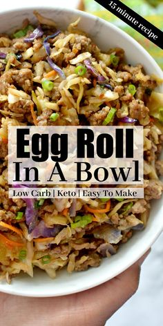 This Low Carb Egg Roll In A Bowl recipe has the classic egg roll taste served in a bowl without all the carbs! Easy dinner recipe that reheats well and is perfect for meal prep too! meals for dinner Low Carb Egg Roll In A Bowl Low Carb Dinner Recipes, Cooking Recipes, Healthy Recipes, Keto Recipes, Egg Roll Recipes, Slaw Recipes, No Carb Meal Ideas, Low Carb Easy Dinners, Low Card Dinners