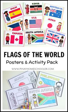 Exploring the different #flags of the world.  Includes poster size printables and activity/coloring pages #preschool #gradeschool #elementary #printables #activity #homeschool #geography #countries #teacherspayteachers