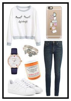 """#482 Alice in wonderland"" by xjet1998x ❤ liked on Polyvore featuring Yves Saint Laurent, adidas, Kate Spade, Casetify and Sian Bostwick Jewellery"