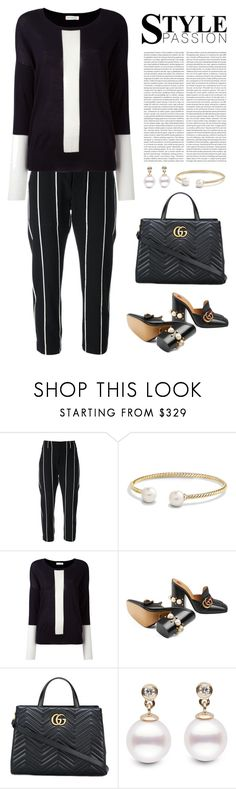"""Black and White"" by musicfriend1 ❤ liked on Polyvore featuring Brunello Cucinelli, David Yurman, Chinti and Parker, Gucci, Oris, white, black and Greatlook"