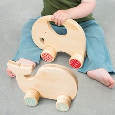 An elegant design to capture your little one's joy and imagination. This friendly elephant push toy is made from sustainably harvested bamboo with a water-based finish. Also available in Mightly Whale
