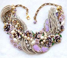 Purple Statement Necklace, Vintage Flower Leaf Chunky Pearl Statement Necklace Wedding Jewelry Lavender Eggplant Rhinestone Necklace