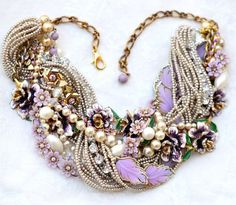 Purple Statement Necklace, Vintage Flower Leaf Chunky Pearl Statement Necklace Wedding Jewelry Lavender Eggplant Rhinestone Necklace
