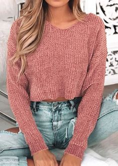 Fashion Pink V Neck Long Sleeve Pullover Cropped Sweater – Tops 2020 Cropped Sweater Outfit, Winter Pullover Outfits, Crop Top Sweater, Sweater And Shorts, Sweater Fashion, Loose Sweater, 30 Outfits, Crop Top Outfits, Latest Outfits