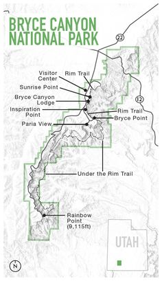 Picture of a map of Bryce Canyon National Park, Utah Arches Nationalpark, Yellowstone Nationalpark, Capitol Reef National Park, National Parks Map, Dry Tortugas, North Cascades, Colorado, Great Smoky Mountains, Death Valley