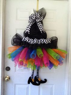 Extra Large, Whimsical, Halloween Witches Tutu & Witch Hat Deco Mesh Wreath Door Decoration