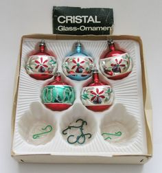 5 vtg c1970s mercury glass Christmas tree baubles decorations hand-painted boxed