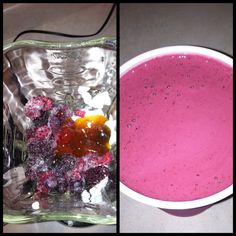 #Breakfast smoothie - 1 cup plain Greek yogurt, 1/2 cup frozen unsweetened berries, 1 T raw honey, 1/2 cup water. Blend till smooth :0)