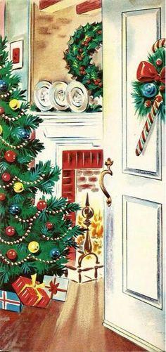 Vintage Christmas Greeting Card Christmas Tree In The Parlor Fireplace Vintage Christmas Images, Old Christmas, Old Fashioned Christmas, Christmas Scenes, Very Merry Christmas, Retro Christmas, Vintage Holiday, Christmas Pictures, Christmas Crafts