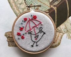 embroidery kit // Beatrice takes a stroll  bird & by dioramatist