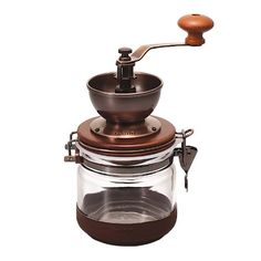 """Hario """"Canister"""" Ceramic Coffee Mill by Hario _ Price: $46.00 & FREE Shipping _ No slip rubber cover at bottom. Capacity : Makes 120g .Easy to use     Easy to Clean."""