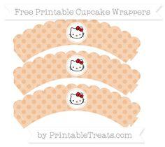Free Pastel Orange Polka Dot  Hello Kitty Scalloped Cupcake Wrappers