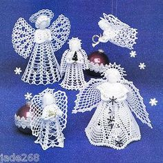 """SWEET LACY ANGELS"" TREETOP & MORE THREAD CROCHET PATTERN * 5 DESIGNS ,Michigan, United States,FVStore.com"