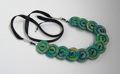 Handmade polymer clay button choker necklace with satin ribbon tie