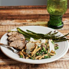 Roasted Balsamic Rosemary Mustard Pork Tenderloin with Vegetarian Pasta with Peas and Porcini Mushrooms