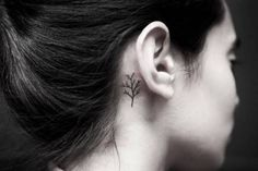 Tiny tree tattoo behind the right ear