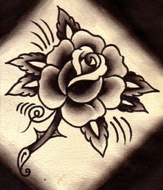 traditional tattoo rose drawing - Google Search