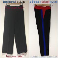 inspiration and realisation: DIY Fashion + Home: DIY colorblock Céline pants (as seen on Jenna Lyons)