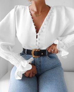 Wpmen Sexy Deep V Long Sleeve Blouse Spring Summer Casual Tops Solid Button Front Bell Sleeve Blouse Top Glamouröse Outfits, Cute Casual Outfits, Fashion Outfits, Fashion Blouses, Fashion Shirts, Grunge Outfits, Summer Outfits, Trend Fashion, Look Fashion