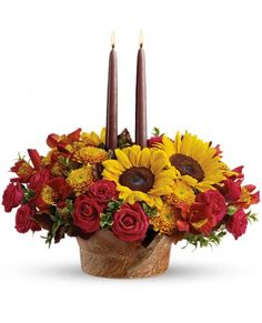 Teleflora's Sunny #Thanksgiving #centerpiece with candles