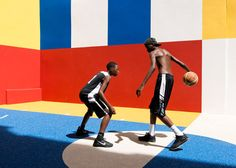 """Pigalle Duperré by Ill Studio. Founded in Ill-Studio is an """"art direction platform"""" that has previously collaborated with brands including Louis Vuitton, Nike, Chanel and Adidas. Pigalle Basketball, Basketball Court, Basketball Design, Terrain Basket, Ill Studio, Nike Campaign, Baskets, Video Installation, Paris Apartments"""