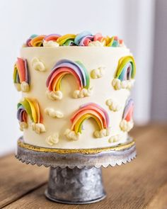 DIY Birthday Cakes - Buttercream Rainbow Cake - How To Make A Birthday Cake With Step by Step Tutorial - Bake Homemade Cakes for Special Occasions and Birthdays With These Best Birthday Cake Recipes - Pretty Cakes, Cute Cakes, Beautiful Cakes, Amazing Cakes, Fancy Cakes, Best Birthday Cake Recipe, Diy Birthday Cake, Happy Birthday, Little Girl Birthday Cakes