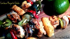 Caribbean Margarita Kabobs with Foster Farm Chicken. A sweet and spicy tropical meal that with get you feeling like you are on vacation. I used pineapple, onion, zucchini, peppers but you can swap out for your personal tastes. You will fall in love with the peach, coconut and lime sauce!