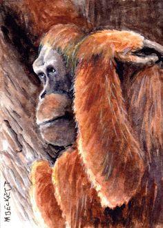 ACEO Original Orangutan animals monkey ape endangered wildlife orange red jungle #Impressionism
