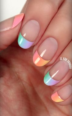 pastel French tip manicure