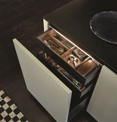 POLIFORM|VARENNA_Pull-out basket with two inner drawers in brown finishing, cutlery canteen in walnut c. and china spice holders