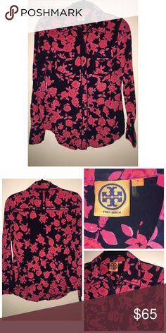 Tory Burch Silk Blouse Like•New Tory Burch Silk Blouse. Size 4. Silk. Front button closure. Two breast pockets. Navy background with Coral Floral print. No signs of wear. Excellent condition Tory Burch Tops