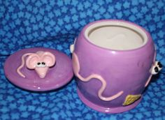 Charming Vintage Ceramic Pink Mouse Lilac Cookie Jar by by 2BEB