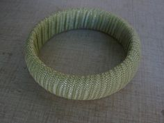 MINT GREEN Colored  50s  Vintage RAFFIA Bangle by Flipsville, $18.00