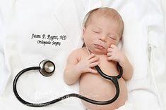 Winston Salem Newborn Photography | Triad Newborn Photographers by Fantasy Photography, llc - Newborn on dad's lab coat with stethoscope doctor surgeon