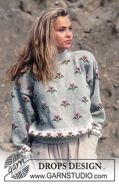 DROPS 24-3 - DROPS jumper with flower pattern in Karisma. - Free pattern by DROPS Design