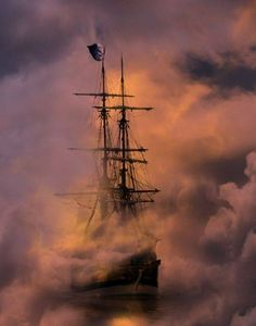 Square rigger in the mist.
