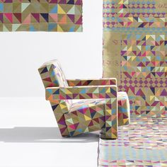 contemporary Dutch artist Bertjan Pot has reinvented Gerrit Rietveld's 'Utrecht' chair using his new 'Boxblocks' fabric
