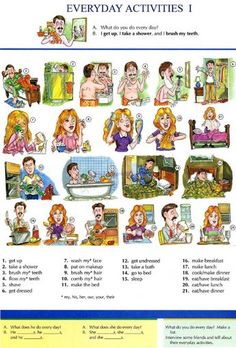 4 - EVERYDAY ACTIVITIES 1 - Pictures dictionary - English Study, explanations, free exercises, speaking, listening, grammar lessons, reading, writing, vocabulary, dictionary and teaching materials