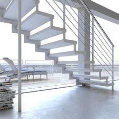 Escalera para interiores a tramos rectos, metálica y de madera, modelo Itron - Escaleras Enesca.es