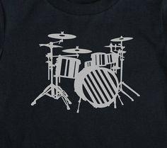 Drums shirt Metallic Silver Drumset boys Birthday Art Print on Black Short Sleeve Toddler tshirt 2t, 3t, 4t, 5/6, 7