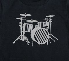 Drums shirt Metallic Silver Drumset boys Birthday Art Print on Black Short Sleeve Toddler tshirt 2t, 3t, 4t, 5/6, 7