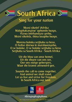 RSA world cup rugby South Africa Rugby, South African Flag, Durban South Africa, South Afrika, Rugby Quotes, African Quotes, World Thinking Day, Le Cap, National Anthem