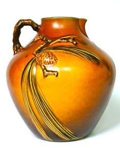 """ROSEVILLE POTTERY 9 1/4""""  BROWN PINECONE  #708-9 PITCHER or JUG VIVID RICH COLOR"""