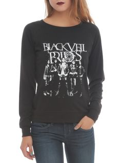 Black pullover top from Black Veil Brides with a group design.