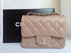 a9eb17049c53 New 2014 chanel dark beige taupe caviar mini square classic bag rare sold  out