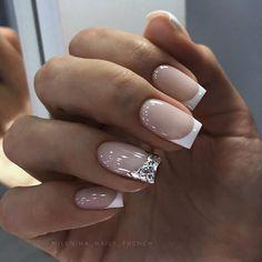 French Manicure Nails, Aycrlic Nails, Chic Nails, Manicure E Pedicure, Stylish Nails, Trendy Nails, Square Acrylic Nails, White Acrylic Nails, Nagellack Design