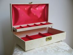 Vintage Jewelry Box in Cream with Gold & Red Interior