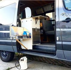 Indoor/outdoor kitchen setup Tag your Sprinter van pics to be featured! Ford Transit Connect Camper, Ford Transit Camper, Sprinter Van, Mercedes Sprinter, Tiny Camper, Camper Van, General Motors, Land Rover Defender, Van Conversion Project